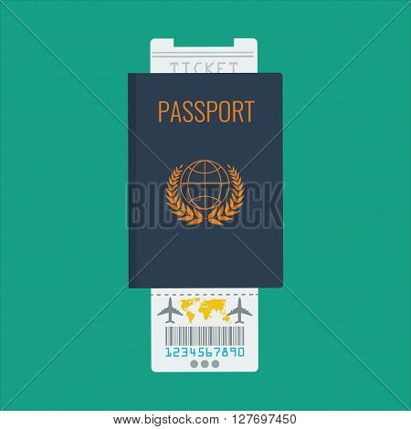 International Passport airline ticket with flat color design vector icon for Travel and torism concept.