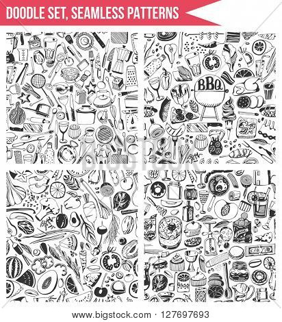 Set seamless patterns, hand drawn style. Cooking, healthy eating, tool.