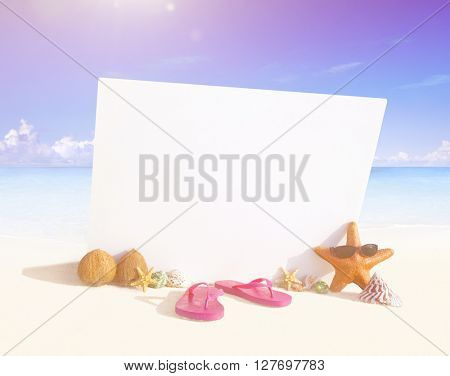 Paradise beach display with copy space.