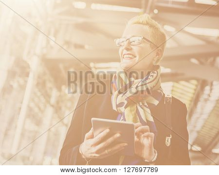 Businesswoman Lifestyle Using Connection Device Concept