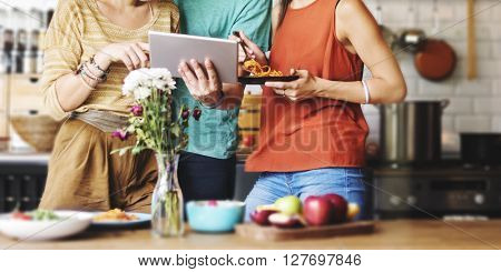 Group Friends Eating Dinner Tablet Research Concept