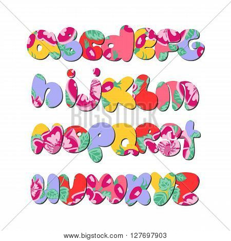 Hand lettering ABC. Floral varicolored alphabet.Urban style.Street basis font.