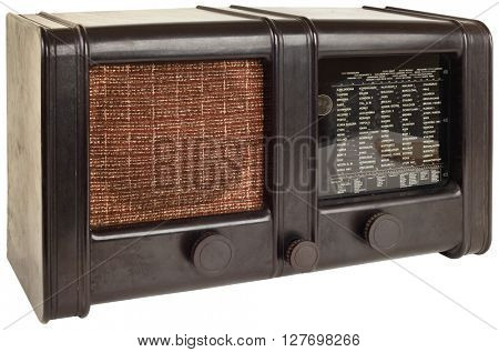 Old Wooden Radio Isolated with Clipping Path