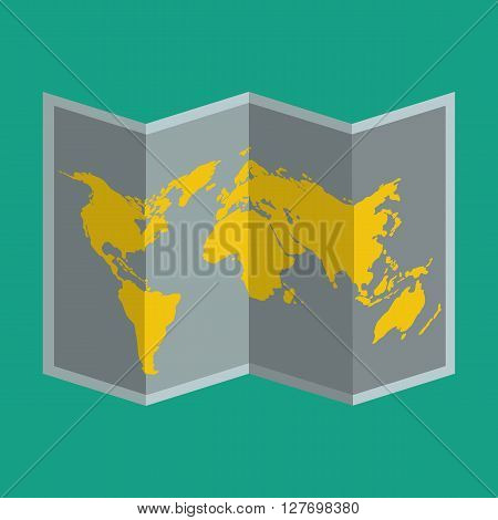Folded map paper icon for traveller or tourist. Flat color design.