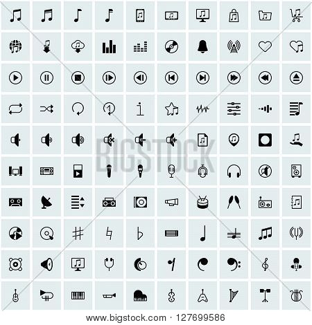 music icon, sign symbol set collection group