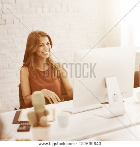 Businesswoman Working Connection Internet Concept