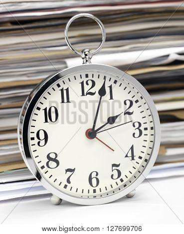 Close up clock face at 12 O'Clock