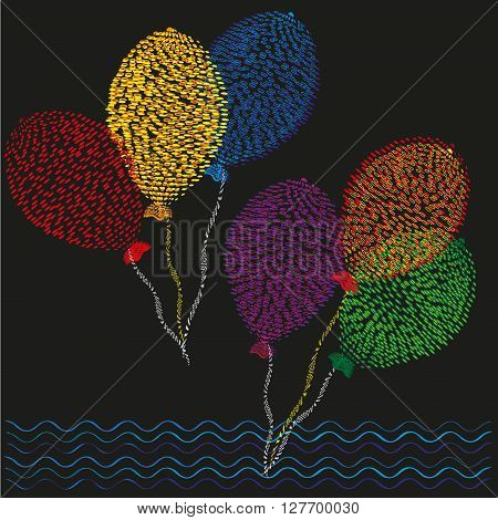 Set of six colored balls Drawing in the style of pointillism primitive,  set of six colored balls on the ropes in flight on a black background for decoration and design