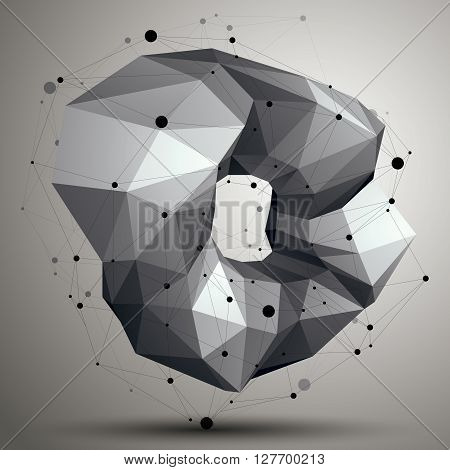 Spatial Vector Monochrome Digital Object, 3D Technology Figure With Geometric Elements And Wireframe