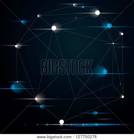 Abstract 3D Structure Polygonal Network Shine Object With Sparkles, Grayscale Deformed Figure.