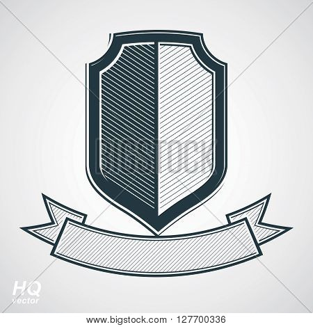 Military award icon. Vector grayscale defense shield with curvy ribbon protection design graphic element. Heraldic illustration on security theme - retro coat of arms.