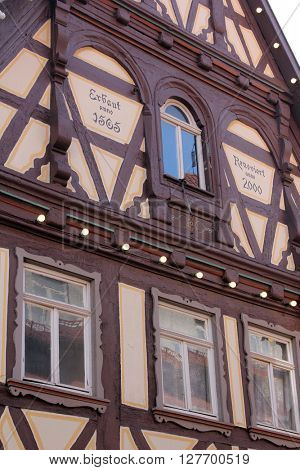 AALEN, GERMANY - MAY 05: Half-timbered old house in Aalen, Germany on May 05, 2014.