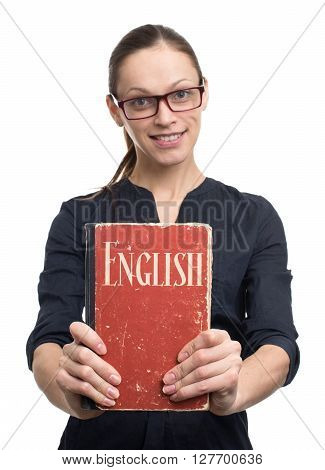 Young Woman Holding English Textbook