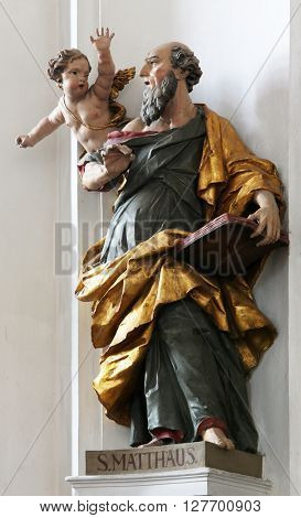 ELLWANGEN, GERMANY - MAY 07: Saint Matthew the Evangelist, Basilica of St. Vitus in Ellwangen, Germany on May 07, 2014.