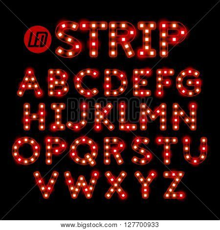 Led ribbon strip light alphabet vector illustration