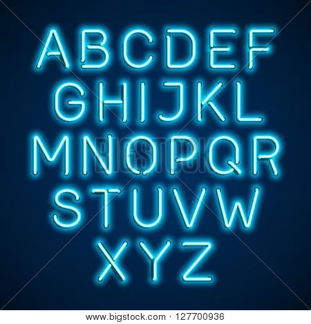 Blue neon light alphabet. Vector.