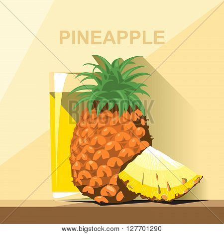 A glass of yellow pineapple juice a whole big ripe pineapple with green leaves and a slice of pineapple on a table digital vector image.