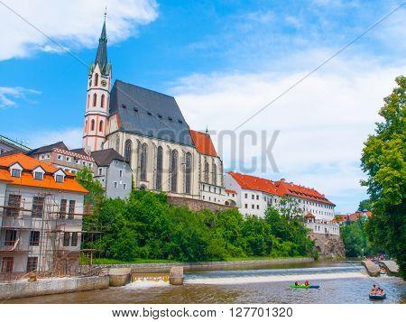 St. Vitus Church above Vltava River in Cesky Krumlov, Czech Republic