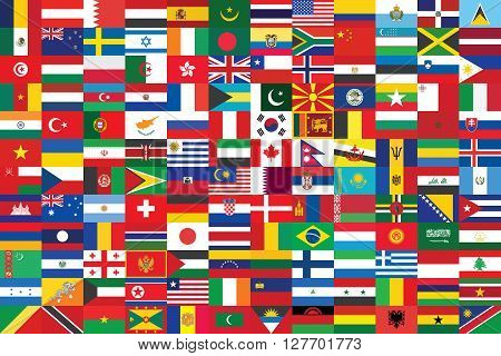 some of world flags background vector illustration