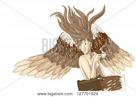 Angel drink coffee in the cafe - vector illustration.