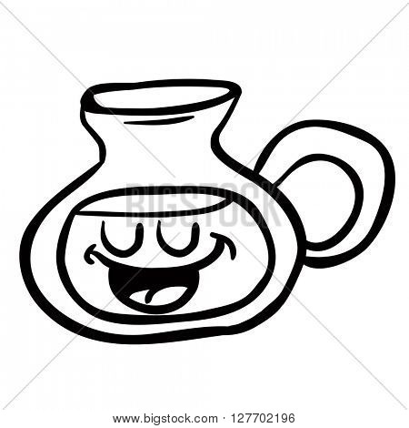 black and white happy lemonade jug cartoon illustration