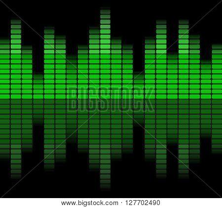 Green digital equalizer. Abstract green waveform background. Vector illustration.