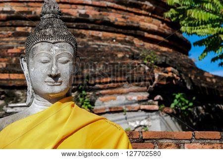 Closed-up shot of Buddha statue at Wat Yai Chai Mongkhon temple Anclent City of Ayudhaya