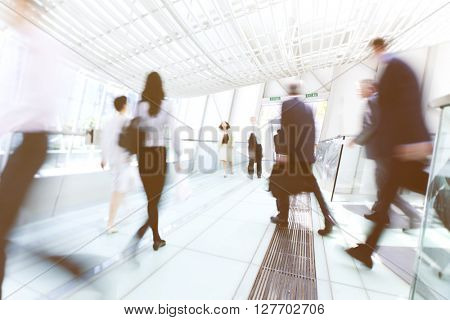 Business People in Motion Crowed Concept