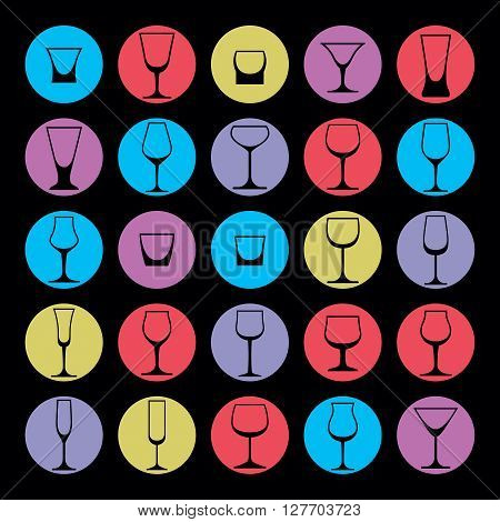 Colorful drinking glasses collection. Set of alcohol theme simple vector illustrations.