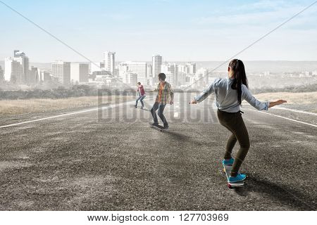 Young people riding skateboard