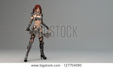 3d illustration of a fantasy warrior woman in desert environment
