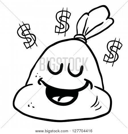 black and white happy money bag cartoon illustration