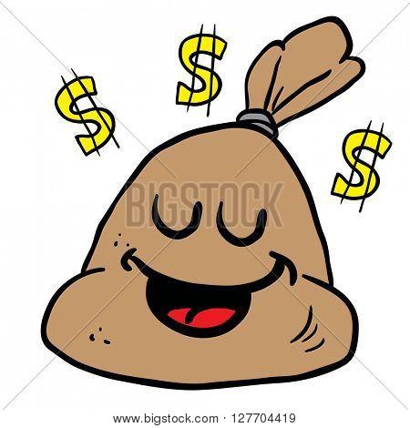 happy money bag cartoon illustration