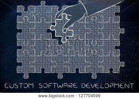 Hand With Missing Puzzle Piece With Binary Code, Custom Software