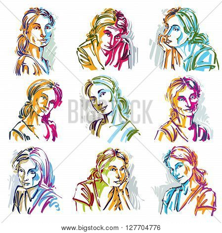 Attractive Ladies Vector Portraits Collection, Silhouettes Of Ladies. Art Drawings, Graphic Images W
