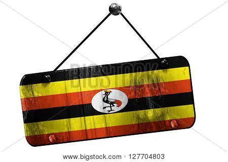 Uganda flag, 3D rendering, grunge old sign on a rope