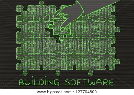 Hand With Missing Puzzle Piece With Binary Code, Building Software