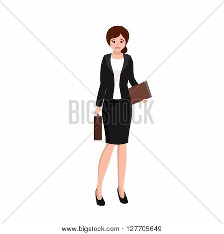 business woman working in office, worker with file keeper and bag