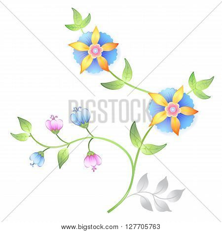 Decor floral elements set isolated on white background (vector illustration)