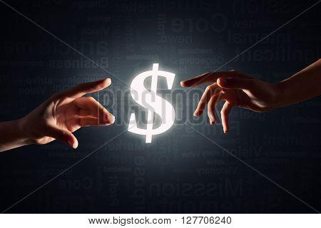 Dollar glowing sign
