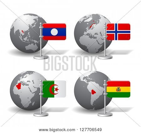 Gray Earth globes with designation of Laos, Norway, Algeria and Bolivia, with state flags. 3D illustration