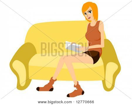 Reading on the couch - Vector