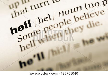 Close Up Of Old English Dictionary Page With Word Hell.