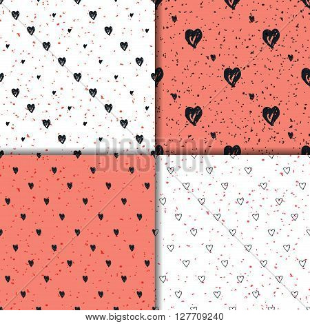 Doodle seamless pattern set with hearts. Hand-drawn heart vector background. Seamless heart pattern. Seamless background heart shapes, sketchy hearts.