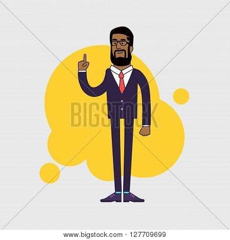 illustration of African American businessman showing his forefinger. Good idea or attention gesture. Linear flat design