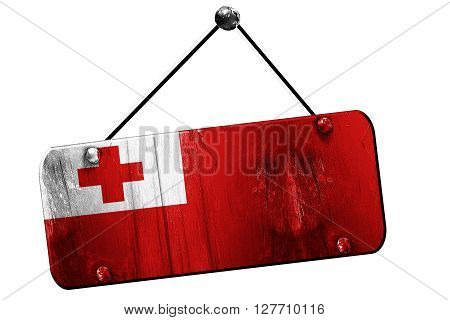 Tonga flag, 3D rendering, grunge old sign on a rope