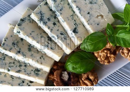 Gorgonzola Cheese With Basil And Walnuts