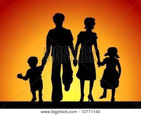 Family Silhouette - Vector