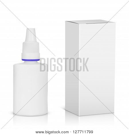 Medical spray bottle with paper package isolated on white background, vector illustration.