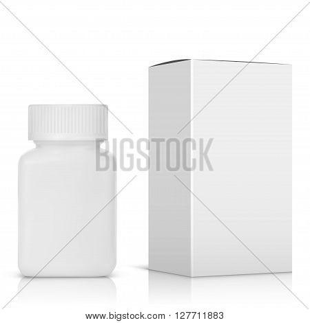 Medicine bottle on white background. White plastic bottle cardboard packaging vector illustration.